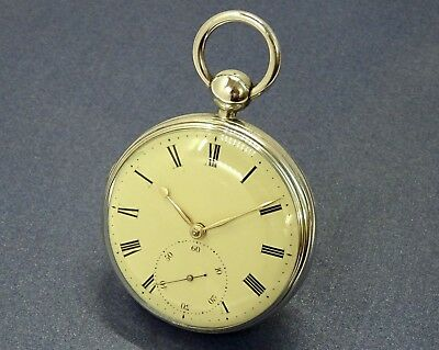 1826 Scarce Massey II Lever Fusee Silver Gents Pocket Watch SERVICED Antique
