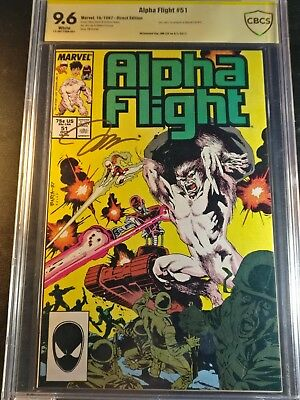 1987 Marvel Alpha Flight #51 Jim Lee's 1st Work @ Marvel Signed Lee CBCS 9.6