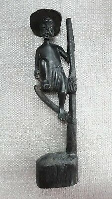 Vintage Asian? Chinese? Carved Wooden Figure, Fisherman? Height 26.5Cm. Unusual.