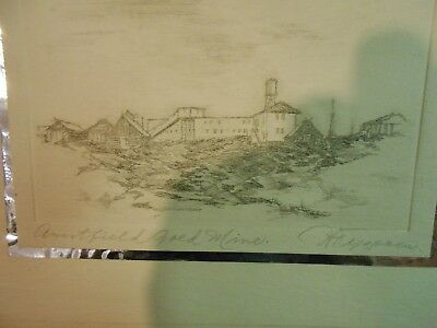 VINTAGE PENCIL SIGNED ART DRAWING ARNTFIELD GOLD MINE Quebec Canada 1935 - 1942
