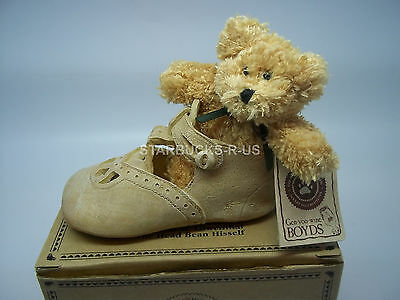 Boyds New Bear-Foot Krissy Blessed Christening Resin Shoe W/ Plush Baby Bear