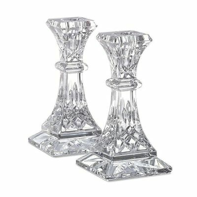 "Pair of Waterford Crystal Lismore 6"" Candle Holder Candlesticks *New in Box*"