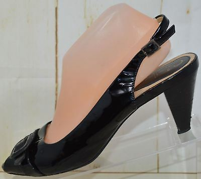 d76db8eeed9 Cole Haan Black Patent Leather Slingback Pumps Heels Peep Toe Women s Size  9.5 M