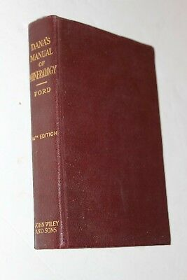 Dana's Manual of Mineralogy 14th Edition 1929 Book Reference Guide Ford Rock