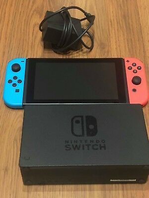 Nintendo Switch 32GB Gray Console with Neon Red and Neon Blue Joy-Con GOOD!