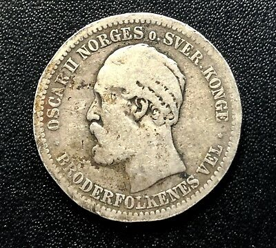 Norway  1877 1 Krone Coin Scarce and high CV value