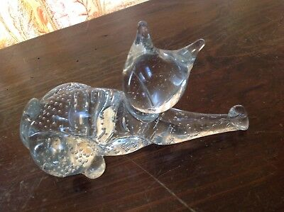 MURANO ART GLASS CAT FIGURE PAPERWEIGHT Controlled bubble Eames era ITALY