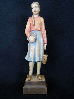 "Exquisite Wood Carving Carved Figurine Girl With Baskets 8.75"" Translucent Color"