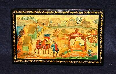 Russian  Lacquer Box Artist Signed  Country Scent