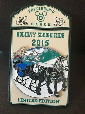 RARE Disney Pin Holiday Sleigh Ride 2015 Elsa Anna Olaf Frozen Christmas HTF