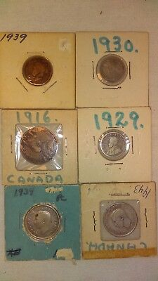 Vintage Canadian Coins Lot of 6 1916-1943