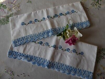 Vintage Hand Embroidered Pillowcases / Pair / Blue And White