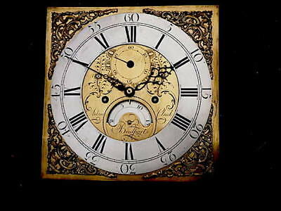 C1760 8day LONGCASE GRANDFATHER CLOCK DIAL+movement 12X12  ADAM CLEAK .  OF   BR