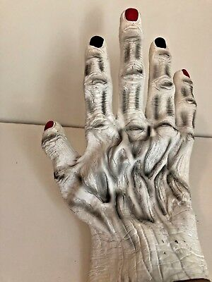 One Hand Zombie Monster Rubber White Glove Black Red Nails Halloween Costume