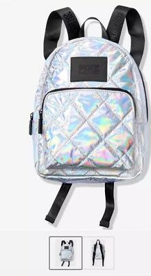 9863c56b407 NEW Victoria s Secret PINK Mini Backpack Bag Iridescent Metallic Silver  Logo ♡