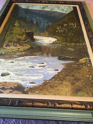 LARGE Vtg Signed Landscape Oil on Canvas Painting Mountain Trees Lake Water CALI