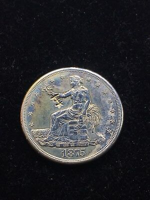 1875-S Trade Dollar w/XF Details or Better (Polished) Coin Has 2 Chop Marks