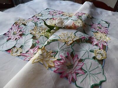 Vintage Hand Embroidered Tablecloth/ Exquisite Flowers With Delicate Openwork