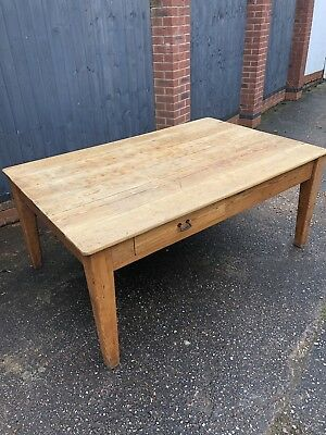 Very Large Pine Original Antique Scrub Top Kitchen Table
