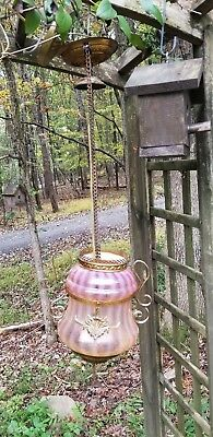 Antique Swirl Cranberry Glass Bell Hanging Ceiling Pendant Light Fixture / Lamp