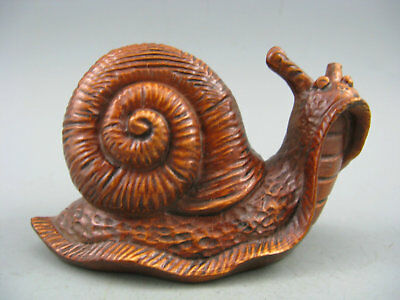 Japanese Netsuke Collectible Boxwood Handwork Old Antique Snail Statue