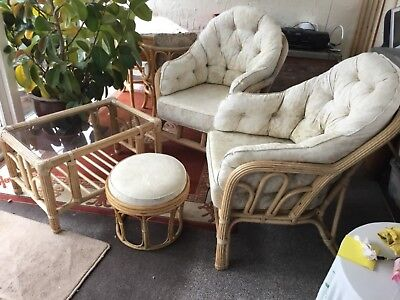 Wicker/cane conservatory furniture 4 piece set