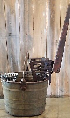 Vintage White Galvanized Mopping Bucket & Cast Iron Mop Wringer  Ideal Strainer