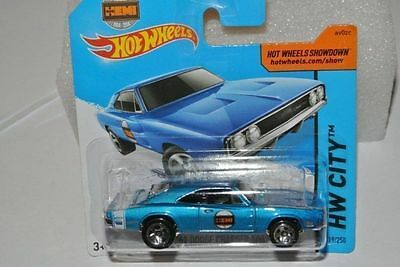 Hot Wheels 2014 Hw City 1969 Dodge Charger 500 Hemi Bleu 1/64
