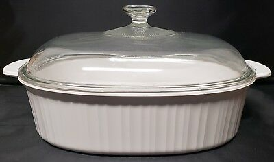 Corning Ware F-14-B French White 4 L Oval Roaster Casserole with Orig Pyrex Lid
