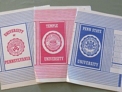 3 Vtg 1970s COLLEGE School Book Covers ORIG PKG TEMPLE Penn State UNIV of PA