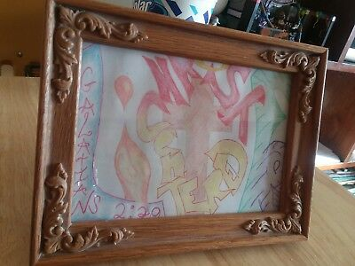 Art/ Framed Colored Pencil Drawing 5 by 7in.