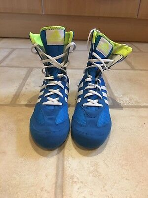 Adidas Box Hog , Blue/White/Green, Boxing Boots, UK7.5, Good Clean Condition
