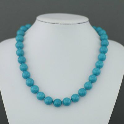 "Limited Edition 436ct Turquoise beads 18"" Necklace sterling silver clasp with Ce"