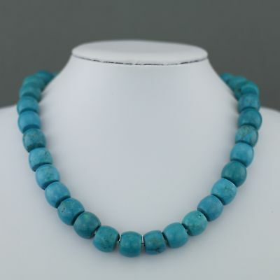 "Limited Edition 550ct Turquoise beads 18"" Necklace with sterling silver clasp an"