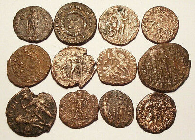 Lot of 12 Æ2-4 Ancient Roman Bronze Coins from IV. Century