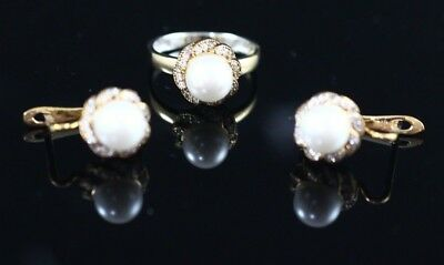 Turkish Handmade Jewelry Sterling Silver 925 Pearl Ring Earring Set 7 8 9