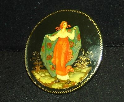 Vintage Russian USSR Lacquer Brooch Pin Hand Painted Signed GIRL PRINCESS