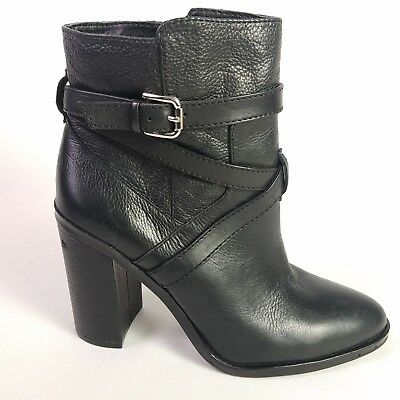 f092cd579ae Vince Camuto Boots Leather Black Buckle Bootie Heels Womens Size 8.5