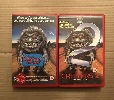 Vhs Ex Rental Of Critters & Critters 2, Big Box RCA Video 80s Horror