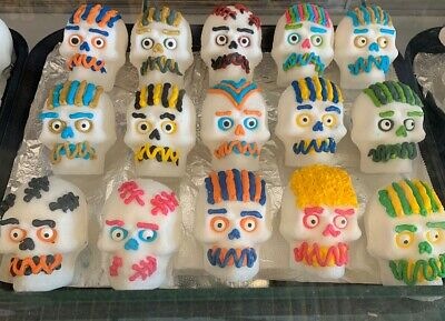 ORIGINAL Mexican Day of the Dead  Real Sugar LARGE Skulls 3 1/2Inch By 3 QTY