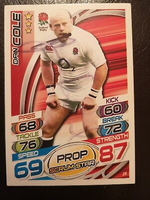 Dan Cole Signed Rugby Attax Trading Card No. 28 England Leicester Tigers Topps