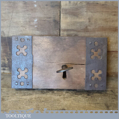 """Rustic Ornate 9"""" Antique French Reclaimed Door Lock With Key - Good Condition"""