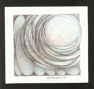"""Abstract Pencil Drawing """"Woodland Moon"""" 6.0"""" x 6.5"""" Artist Signed Original #97"""