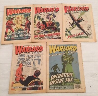 Vintage Warlord Comics x 5 from 1974 by D. C. Thomson Nos 11/12/13/14/15