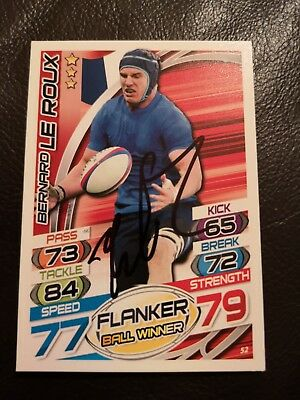 Bernard Le Roux Signed Rugby Attax Trading Card No. 52 France Racing 92 Topps