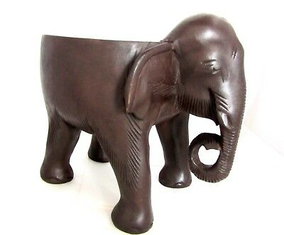 Hand Carved Wood Elephant Stool Decorative Flower Pot Plant Stand Foot Rest
