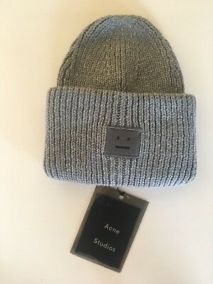 ea643bd3174 NEW GRAY ACNE Studio Pansy S face Ribbed Wool beanie knit hat ...