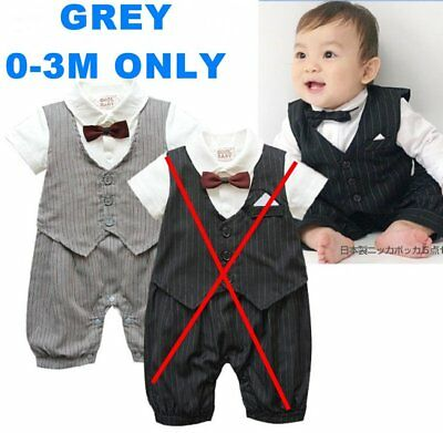 Baby Boy Wedding Christening Formal Suit Party Outfits Clothes 0-3M NEWBORN