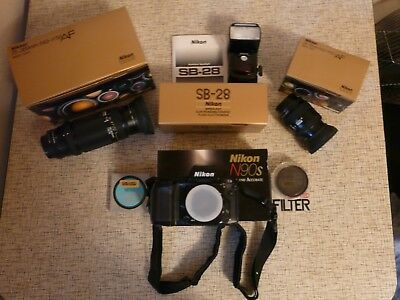 Nikon N90s 35mm film camera with 2 lens and flash