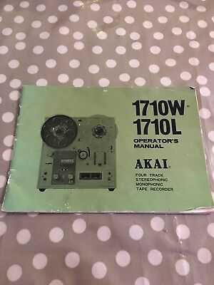Akai 1710W 1710L Four Track Tape Recorder Original Operators Manual